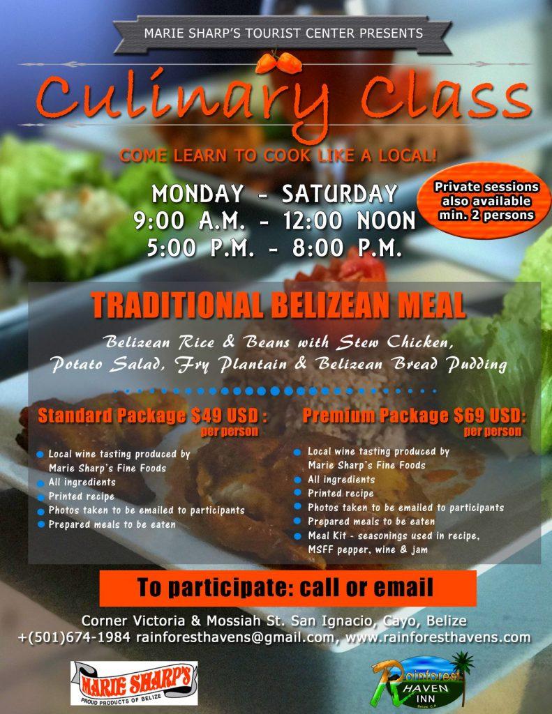 culinary classes in Belize